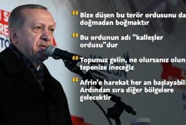 """Erdoğan sert konuştu: """"Topunuz gelin, ne olursanız olun tepenize ineceğiz"""""""