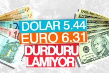 Dolar 5.44, Euro 6.31, Sterlin 7.007