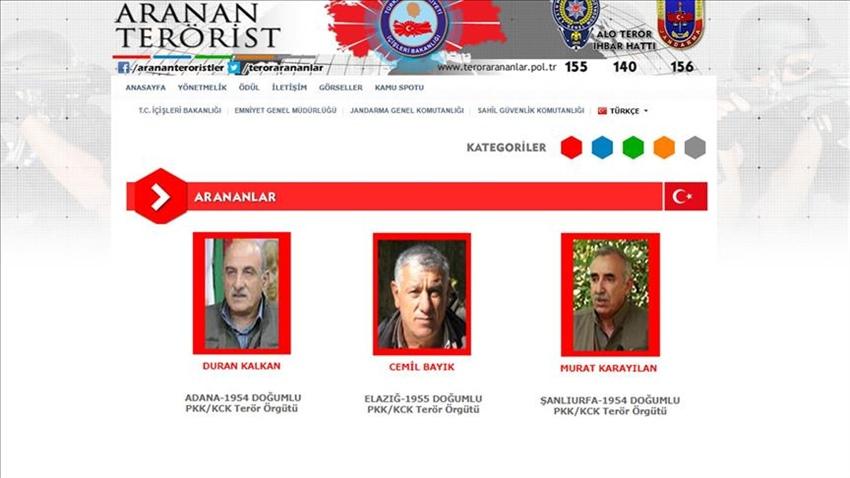 ABD'den PKK elebaşları hakkında bilgi verene ödül
