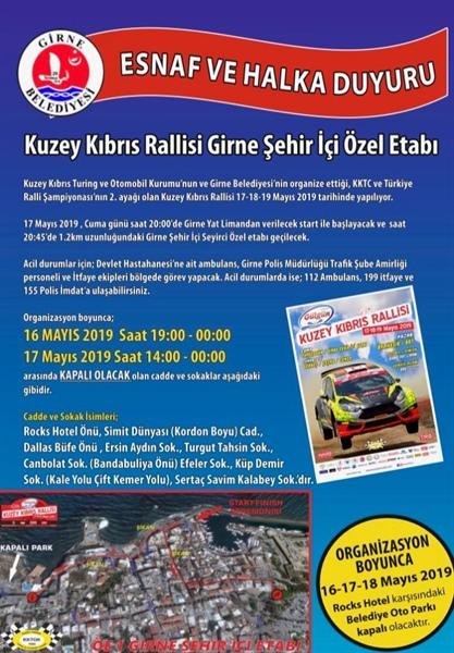 Girne'de Ralli nedeniyle bazı yollar kapatılacak