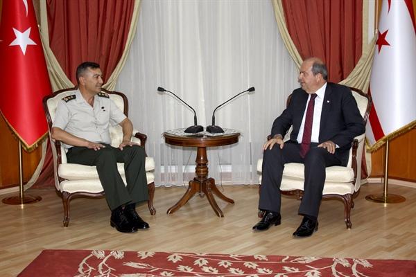 Tatar, Kıbrıs Türk Barış Kuvvetleri Komutanı Tümgeneral Yılmaz Yıldırım'ı kabul etti