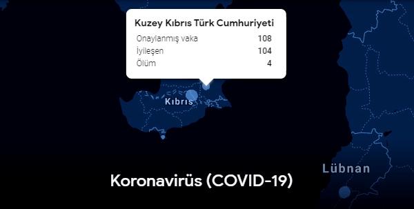 Google Covid-19 verilerine KKTC'yi dahil etti!
