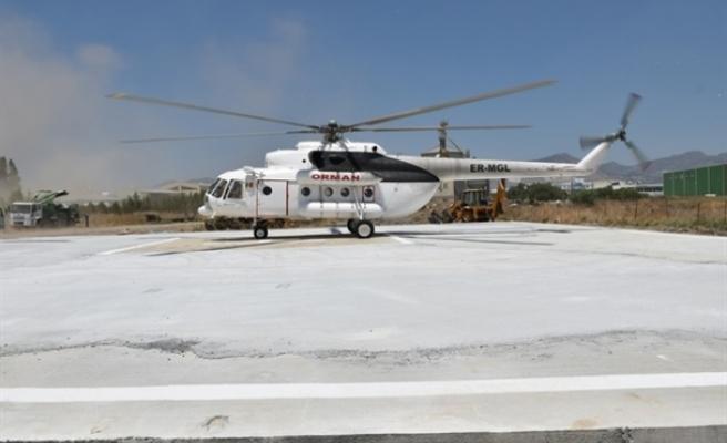 """""""Tarihi bir gün. Moral ve güç verdi""""…Helikopter Lefkoşa'da Orman Dairesi'ne ait arazide helikopter pistinde konuşlandırıldı"""