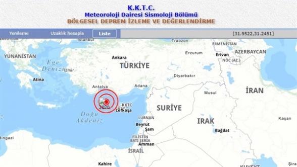 Kıbrıs'ın Kuzeybatısında denizde 3.7 şiddetinde deprem