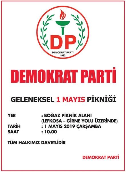 DP, Geleneksel 1 Mayıs pikniğini Girne Boğaz Piknik Alanı'nda düzenleyecek