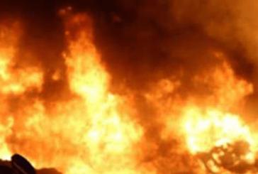 Elektrik direğinden çıkan kıvılcım yangına neden oldu