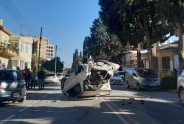 Araç devrildi, iki yaralı