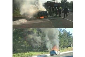 Girne-Lefkoşa anayolunda alev alan araç yanarak kullanılamaz hale geldi